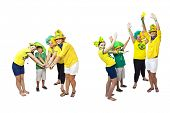 Brazilian fans stacking hands on white background - One for all and all for one.