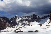 Snow Mountains And Sky With Clouds