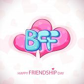 Glossy blue text BFF on shiny pink hearts on grey background for Happy Friendship Day.