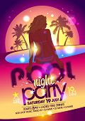 Night pool party poster. Eps10