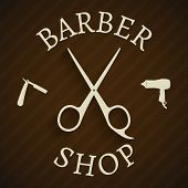 pic of barber razor  - Hairdresser barber shop poster with razor and hair - JPG