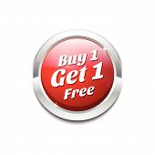 Buy 1 Get 1 Free Glossy Shiny Circular Vector Button