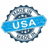 Made In Usa Vintage Stamp Isolated On White Background