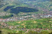 Aerial view on Volovets town in mountain valley. Carpathians, West Ukraine