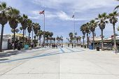 LOS ANGELES, CALIFORNIA - June 20, 2014:  Summer sun and palm trees at the funky Windward plaza at V