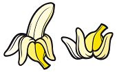 peeled banana and banana