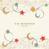 Muslim community festival Eid Mubarak celebrations background with golden moon and stars on beige ba