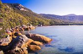 stock photo of promontory  - Wilsons Promontory the most southerly point on the Australian mainland with clear blue water - JPG