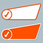 Two Orange Boxes For Any Text With Check Box