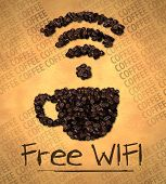 Free WiFi Cup Icon Coffee Bean on Old Paper