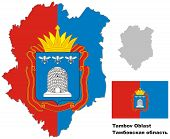 Outline Map Of Tambov Oblast With Flag