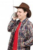 Cowboy Listening Funny Radio