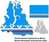 Outline Map Of Yamalo-nenets Autonomous Okrug With Flag
