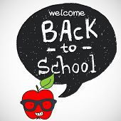 stock photo of red back  - Back to school doodle background with hipster red apple in glasses and black speech bubble for the text with hand drawn lettering - JPG