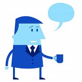 Cartoon Office Guy With Mug And Speech Balloon