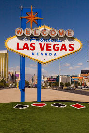 stock photo of las vegas casino  - Picture of the famous Welcome to Las Vegas sign with new grass just added the end of February  - JPG