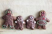Gingerbread family of four. Handmade in home, decorated by children. Christmas