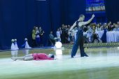 Minsk-belarus, October 4, 2014: Andrey Zaycev And Elizaveta Cherevichnaya (russian Federation) Perfo