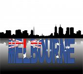 Melbourne skyline reflected with Australian flag text vector illustration