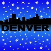 Denver skyline reflected with snow vector illustration