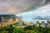 Hong Kong, China city skyline from Braemer Hill.