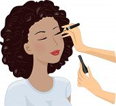 Illustration Featuring a Woman Having Mascara Applied on Her Lashes
