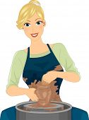 pic of molding clay  - Illustration Featuring a Female Potter in an Apron Molding Clay - JPG