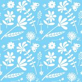 Seamless floral drawing pattern, textured background. Spring, summer nature pattern with butterflies, flowers.