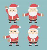 Set Of Santa Claus. Vector Flat Design