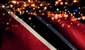 Trinidad And Tobago National Flag Light Night Bokeh Abstract Background