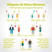 pic of niece  - Family tree infographics with people generation relationship vector illustration - JPG