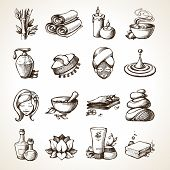 pic of decorative  - Spa Sketch Decorative Icons Set With Bamboo Towels Aroma Candles Isolated Vector Illustration - JPG