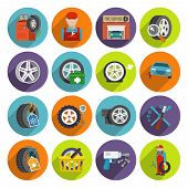 Tire service icon set