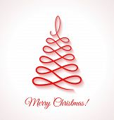 Abstract Red Christmas Tree On White Background.