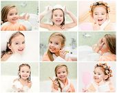 Collection Of Photos Cute Little Girl Washing Brushing Teeth