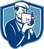 Cameraman Vintage Video Camera Shield Retro