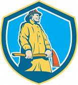 Fireman Firefighter Standing Axe Shield Retro