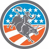 image of bull-riding  - Illustration of rodeo cowboy riding bucking bull set inside circle with american stars and stripes flag in the background done in retro style - JPG