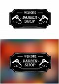 picture of barber  - Barber Shop sign in a rectangular frame with text Welcome Barber Shop with hairdryers - JPG