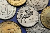 Coins of Slovenia. Horse (Equus) depicted on the Slovenian 10 tolar coin.