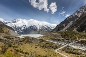 image of hookers  - Bridge over Hooker River in Aoraki national park New Zealand - JPG