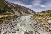 stock photo of hooker  - Hooker River in Aoraki national park New Zealand - JPG