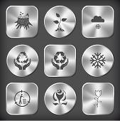 Nature set. Vector round and square steel buttons.