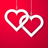 Two Hearts applique on red background