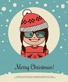 Holiday card with hipster girl in red Canta Claus hat and Christmas sweater