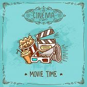 stock photo of popcorn  - Cinema movie time sketch poster with popcorn glasses clapperboard and megaphone vector illustration - JPG