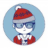Santa Claus dressed in a trendy hipster style
