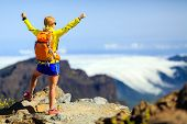 pic of canary  - Hiking woman and success in mountains - JPG