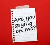 stock photo of peeping tom  - The question Are you spying on me - JPG