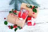 stock photo of aquifolium  - Beautiful Cristmas gifts with European Holly  - JPG